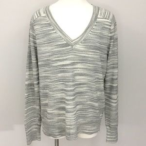 Anthropologie Moth Marled Space Dye V Neck Sweater